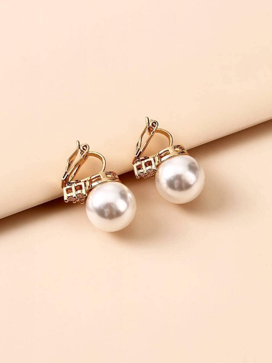 Hoop Earrings 2pcs Faux Pearl Decor Ear Cuff (Color : Gold)