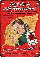 タバコの男性と最初のラッキーストライク メタルポスタレトロなポスタ安全標識壁パネル ティンサイン注意看板壁掛けプレート警告サイン絵図ショップ食料品ショッピングモールパーキングバークラブカフェレストラントイレ公共の場ギフト