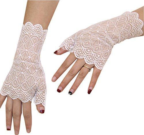 Sexy Vintage Floral Summer Short Lace Gloves UV Protection Fingerless Gloves Wrist Length Prom Party Driving Wedding Gloves (White)