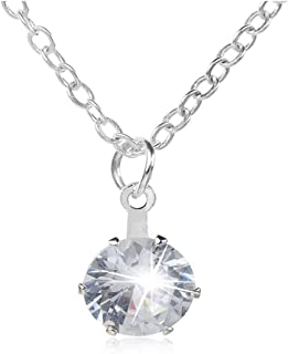 Yuanhua Creative Silver Multi Coloured Cubic Zirconia Pendant Solitaire Necklace For Women/Girls
