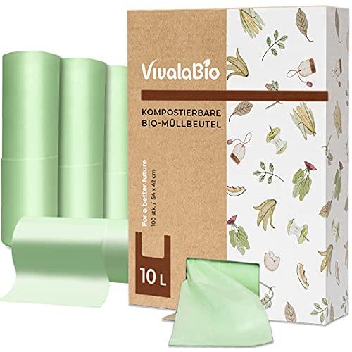 VivalaBio 10L kompostierbare Biomüllbeutel mit Henkel 100 Stück für Heim Kompost - auch als 6L, 30L