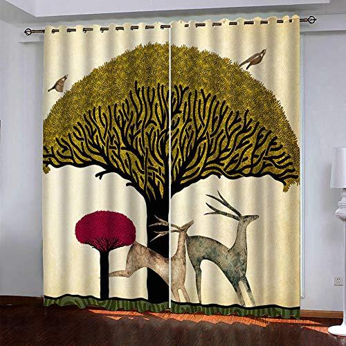 DRFQSK Cortinas Infantiles Impresión Digital Alce De Árboles Dorados Abstractos 3D Cortinas Opacas Termicas Aislantes Cortinas Dormitorio Moderno con Ollaos, 2 Paneles 234 X 230 Cm(An X Al)
