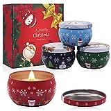 4 Piezas Navidad Velas Aromaticas Set, Juego de Velas Perfumadas Navideñas, Velas Perfumadas de Regalo, Vela Aromática Regalo de Velas de Soja para Boda Navidad Cumpleaños Día de San Valentín