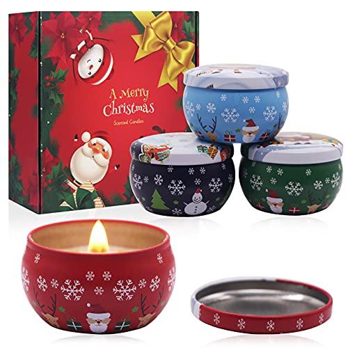 4 Pezzi Candele di Natale, Candele Profumate Natalizie, Candele Profumate, Candele...