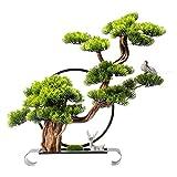 Bonsai artificial Decoración Árbol de bonsái artificial, decoración de la planta falsa, 22 pulgadas en maciza plantas de casa artificial, hermosa planta de pino bonsai, para la exhibición de escritori