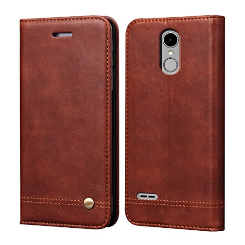 LG Stylo 3 Case, LG Stylo 3 Plus Case,RUIHUI Luxury Leather Wallet Folding Flip Protective Case Shell Cover with Card Slots,Kickstand Feature and Magnetic Closure (Brown)