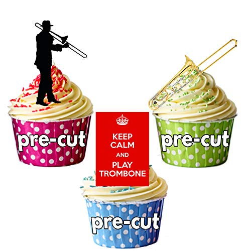 Love Trombone, Keep Calm and Play Trombone, Silhouette Players and Trombone Party Pack Mix - Edible Stand-up Cupcake Toppers by AKGifts