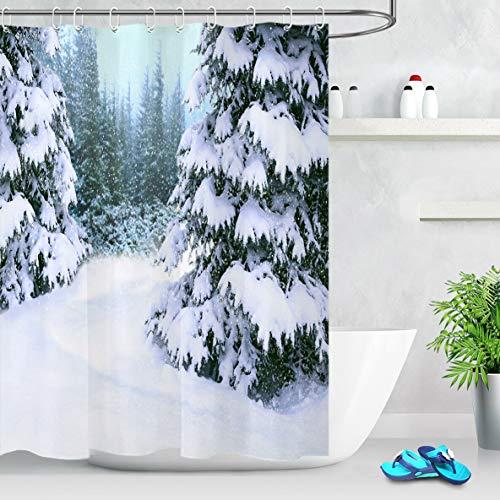 Stoff Duschvorhang Schnee bedeckt Fichte Winterwald Badezimmer