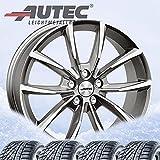 4 ruedas completas de invierno Astana 7 x 17 ET 50 5 x 108 titanio plateado pulido con 215/50 R17 95V Semperit Speed-Grip 3 XL FR M+S 3PMSF