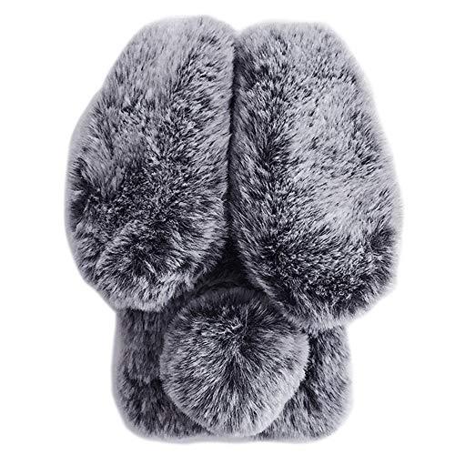 LuGeKe Furry Rabbit Phone Case for iPhone 7/iPhone 8/iPhone SE 2020,Bling Diamond Luxury Fur Bunny Ears Warm Handmade Case Cover,Soft Winter Flexible Protective Girls Women Phonecase(Gray Rabbit)