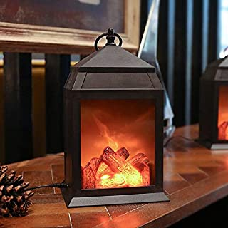 Fireplace Lantern and Battery Operated USB Operated 6 Hour Timer Included Tabletop..