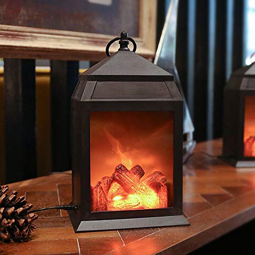 Decorative Realistic Fireplace Lantern and Battery Operated USB Operated 6 Hour Timer Included Tabletop Fireplace Lantern Indoor/Outdoor Fireplace Lamp 1 PC Black