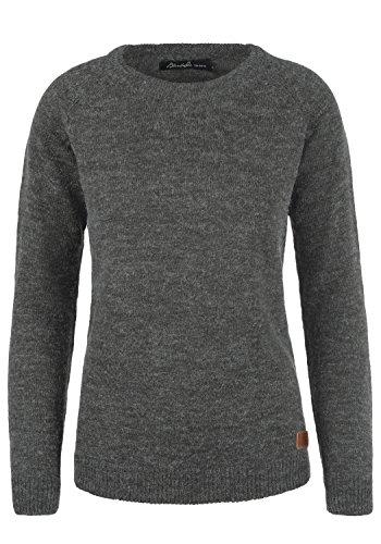 BlendShe Nele Damen Strickpullover Feinstrick Pullover Mit Rundhals Und Melierung, Größe:M, Farbe:Pewter Mix (70817)