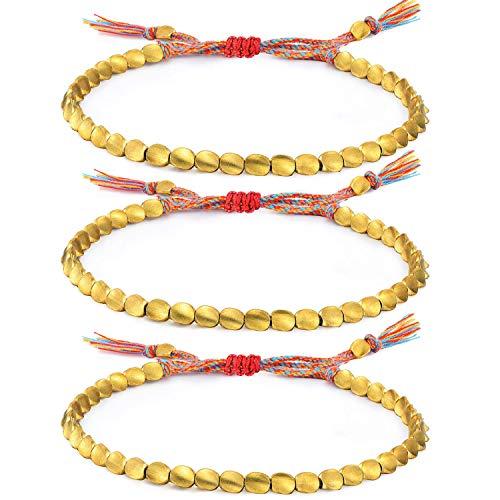 Jewdreamer - Juego de pulseras de cuentas de cobre tibetano hechas a mano con cuentas de cobre trenzadas de algodón de la amistad para mujeres y hombres