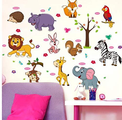 QTXINGMU Cartoon Lion Fox Parrot Hedgehog Mural Bricolage Animaux Sticker Mural pour Décoration Chambre Enfants