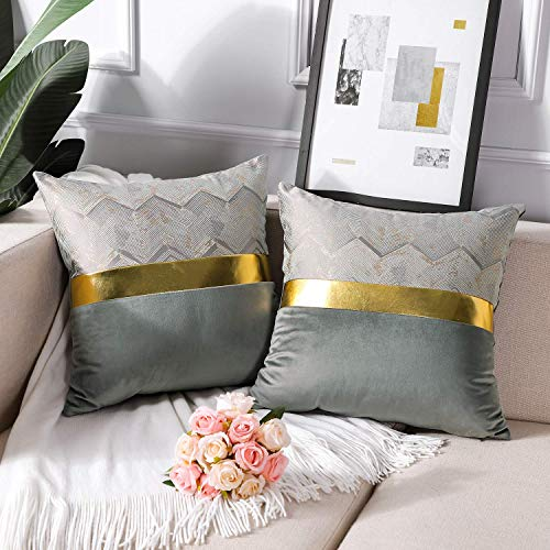 Artscope 2er Set Samt Kissenbezug für Sofa Auto Schlafzimmer Luxuriöser Moderne Minimalist Goldenen Ledernähten Wellenstreifen Dekokissen Kissenhülle Kissen Fall 45x45cm Grau