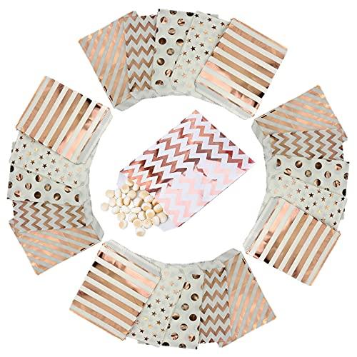 50Pcs Sacs Cadeaux pour Bonbons Buffet Cadeau Fête Mariage Anniversaire Partie Papier pour Biscuit Deco,Sacs en Papier Bonbons Douche de Bébé, Fête de Célébration 18 x 13CM