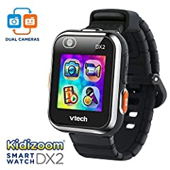 Two cameras allow you to take videos, pictures and selfies that can be customized and made into new Watch faces Helps kids learn to tell time with 55 digital and analog watch faces that they can customize; splash proof for everyday play, splash and s...