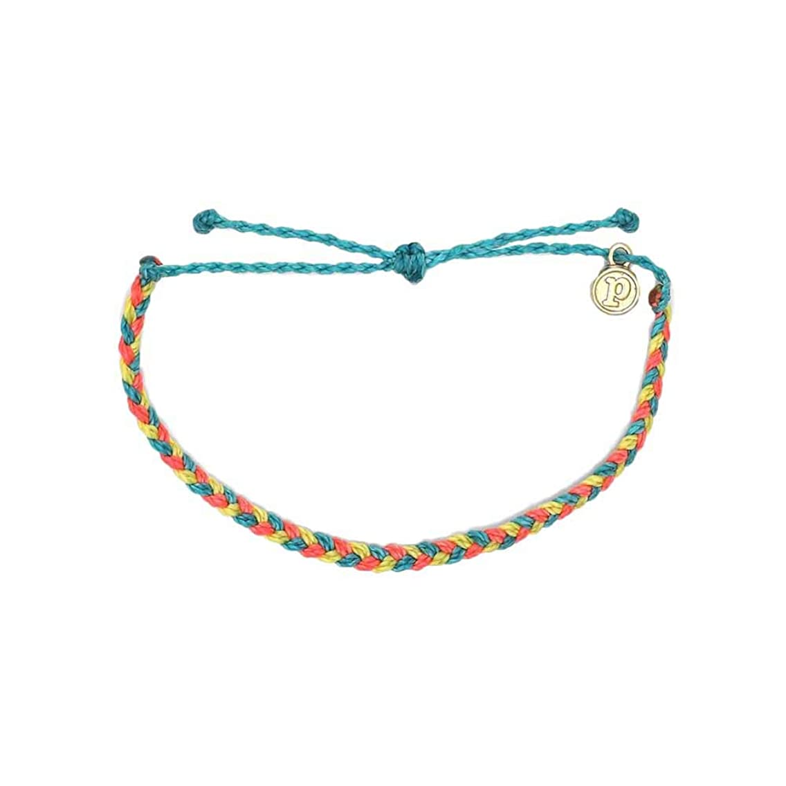 Pura Vida Mini Braided Bracelet - Plated Charm, Adjustable Band
