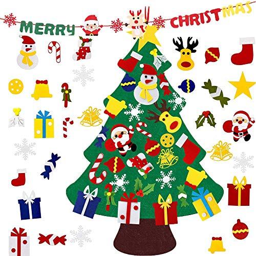 lyasuta - Juego de árbol de Navidad de fieltro, 31 piezas, con pancarta de 1,5 m, regalos de Navidad para niños pequeños de Año Nuevo hecho a mano para colgar en la pared