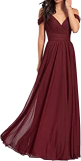 V Neck Long Bridesmaid Dresses Chiffon Aline Pleated Backless Formal Evening Gown for Women
