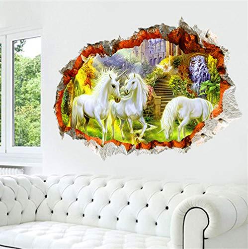 Wall Sticker,3d Effect Unicorn Paradise Through For Kids Rooms Living Room Decor Cartoon White Horse Wall Decals Art Diy Mural/60x90cm