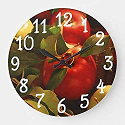 wojuedehuidamai6 Silent Wall Clock - Great Fall Autumn Apples Design Kitchen - Decorative Wall Clock for Home、Office and Cafe with 9.5in