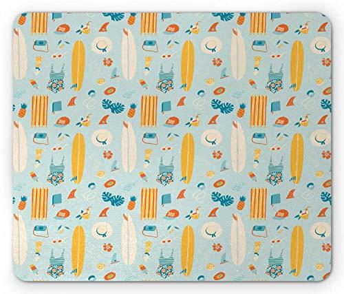 Hawaii Mouse Pad, Repetitive Su er Artikel mit Muster Surfboard Ice Cream Bikini Ananas, Standardgröße Rechteck rutschfeste Gummi Mousepad, Hellblau und Multicolor,Gummimatte 11,8