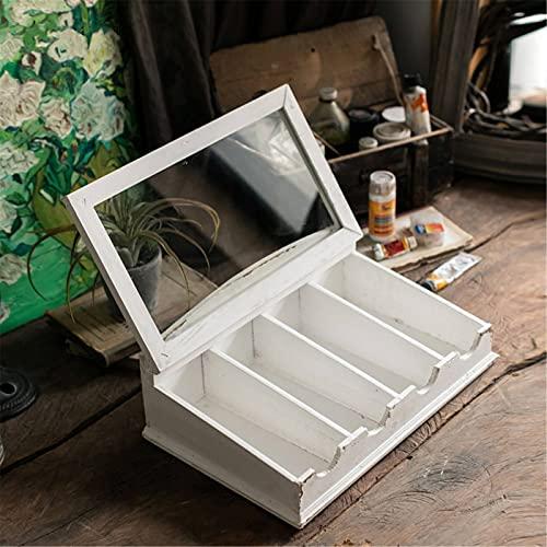 BESISOON Caja De Almacenamiento De Madera Caja De Cubiertos De Madera Antigua Blanca En Blanco Inclinada con Cajas De Almacenamiento