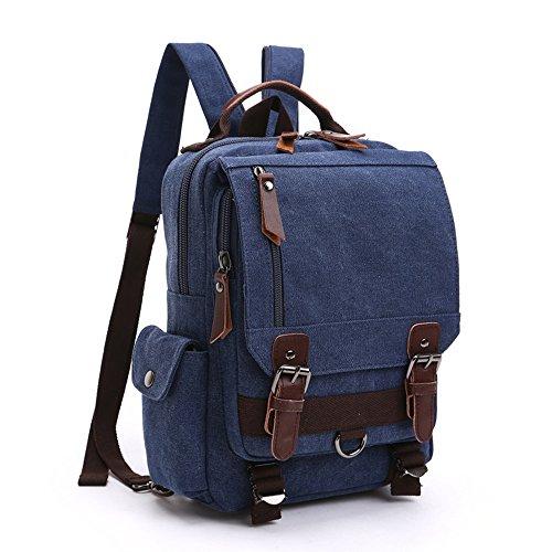 LOSMILE Zaino Uomo donne Zaini Tela Zainetto Borsa a Tracolla Borsa di Tela Sacchetto del Messaggero Sacchetto di Messenger bag Backpack. (Profondo blu)