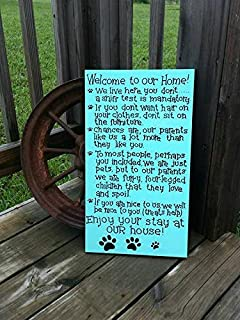 Waaa 50x28cm Wooden Dog Sign - Pet Rules for The Home - Rules for Non Pet Owners - Hand Painted Wooden Dog Sign - Wood Dog Decor - Signs for Dogs - Pets 802246