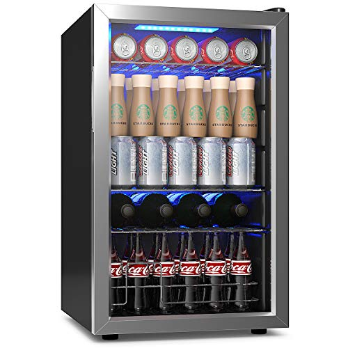 """COSTWAY Beverage Refrigerator and Cooler, 76 Can Mini Fridge with Glass Door for Soda Beer or Wine Small Drink Dispenser Machine for Office or Bar (17""""x 17.5""""x29"""")"""