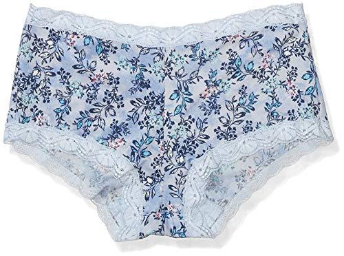 Maidenform Women's Microfiber and Lace Boyshort, Sky Floral Print/Ciel Blue, 7