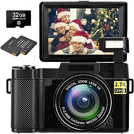 Digital Camera Vlogging Camera Full HD 2.7K 30MP Vlog Camera for YouTube Compact Digital Cameras with 32G Memory Card and 2 Batteries(Fixed Focus)