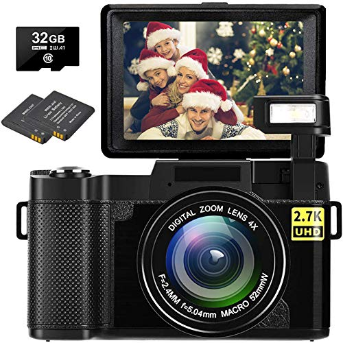Digital Camera Vlogging Camera Full HD 2.7K 30MP Vlog Camera for YouTube Compact Digital Cameras with 32G Memory Card and 2 Batteries(Fixed Focus)