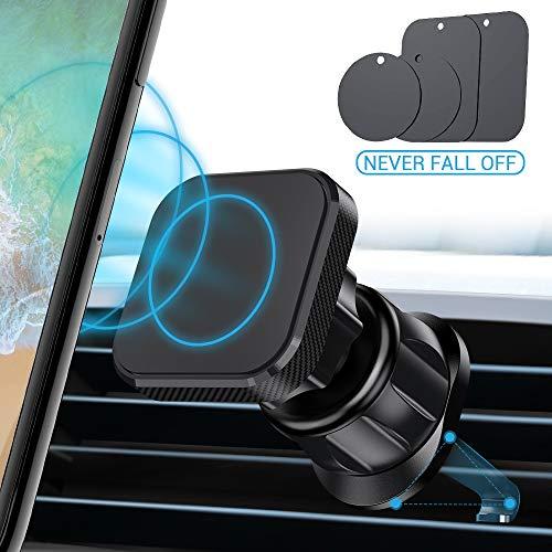 Avolare Handyhalterung Auto Magnet, Kabel-Klammer Handyhalter fürs Auto Lüftung [Haken Design] mit 4 Metallplatte 360° Drehbar KFZ Handyhalterung für iPhone Samsung Huawei und alle Handys (Schwarz)