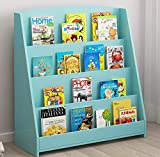 RAAMZO Single-Sided Bookcase Bookshelf Organizer Display Stand for Kids, 4-Tier Shelves in Turquoise