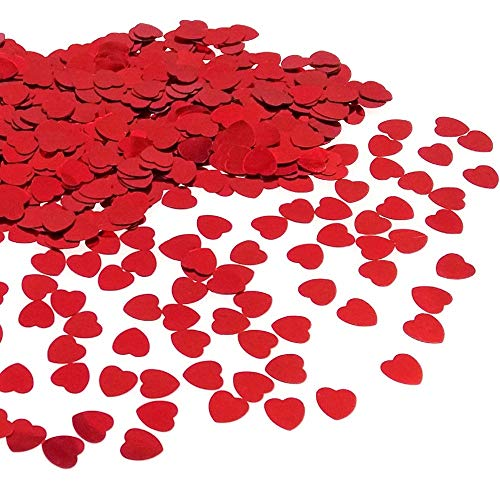 JZK 5000 pcs 1cm Plastic red Love Heart Wedding Confetti Dinner Table Scatter, Scrapbook Accessories Table Decorations for Wedding Birthday Valentine's Day Baby Shower Hen Party