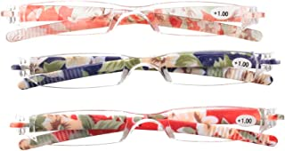 SOOLALA Printed Integrated PC Magnifying Reading Glasses w/Pen Clip Tube Case,