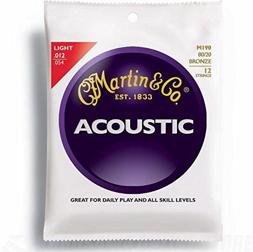 Martin Gitarrensaiten für Akustikgitarren (80/20 Bronze, Stärke Light 0.012 - 0.054) 12 Saiten