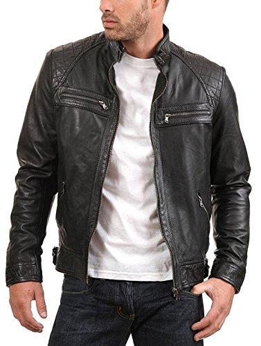 Urban Leather Factory Herren Lederjacke ENZO schwarz echtes Lammfell Vintage Lederjacke XS schwarz