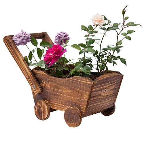 YUOKI99 Fioriera succulenta vaso ornamentale balcone, carriola in legno, decorazione giardino, patio, tavolo rettangolare, camera da letto, negozio, finestra, disegni animati, rustico, ufficio in casa