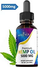 5000mg Hemp Oil Extract for Pain, Anxiety & Stress Relief - 5000mg of Pure Hemp Extract - Grown & Made in USA - 100% Natural Hemp Drops - Helps with Sleep, Skin & Hair.