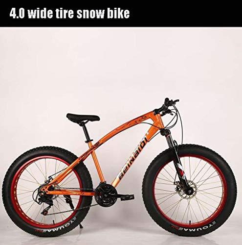 AISHFP Bicicleta de montaña de 24 Pulgadas con Grasa para Adultos, Bicicleta de Nieve con Doble Disco de Freno, Bicicletas de Crucero con Marco de Acero de Alto Carbono para Hombres,Naranja,21 Speed