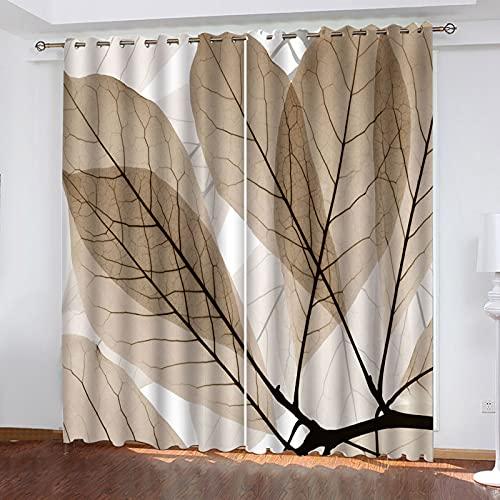 KLily Blackout Simple Cortina Impermeable Patrón De Hoja Dormitorio Balcón Cortina Flotante Tiro Cortina De Fondo 98% Apagón Cortina De Aislamiento Térmico