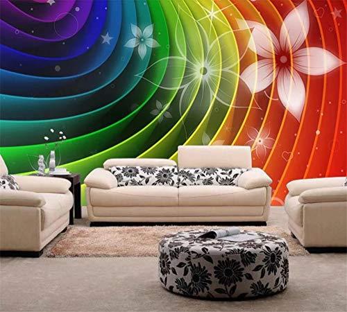 Loaizh Benutzerdefiniert Dekoration Abstrakt Blüht Regenbogen Bunte Fernsehrückwand-Sofahintergrundwand 3D Tapete Wandbild Wandaufkleber Wallpaper 150Cmx100Cm