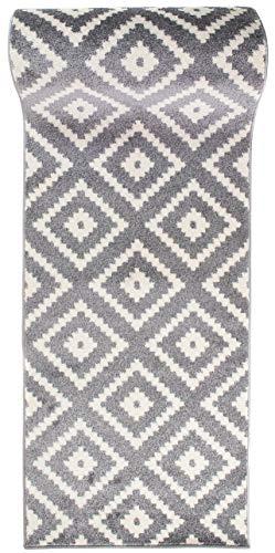 Läufer Teppich Brücke Teppichläufer - Orientalisches Marokkanische - Flur Modern Designer Muster Meterware - Casablanca Kollektion von Carpeto - Grau - 60 x 200 cm