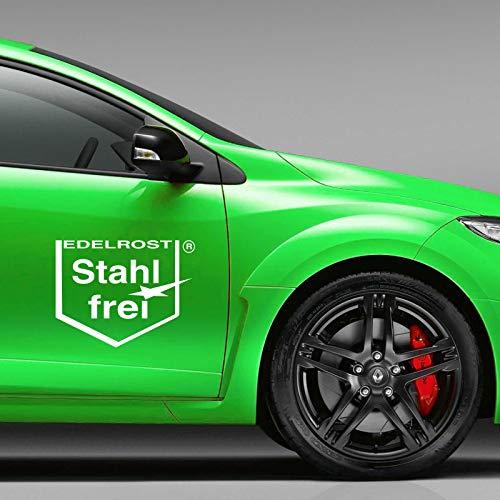 INDIGOS UG Aufkleber - 2er Set Autoaufkleber Edelrost - Stahlfrei je 25cm x 34cm Weiß - Tuning Carystyling Heckscheibe Auto