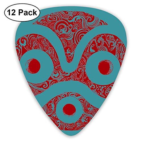 Houity Gitarrenplektren Mononoke's Mask 12-teiliges Gitarren-Paddel-Set aus umweltfreundlichem ABS-Material, geeignet für Gitarren, Quads, etc.