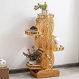 LHLYL-DP Bamboo Utility Shelf, Living Room/Bathroom Flower Pot Rack, Wood Plant Display Stand, Multi-Tier Storage Organizer Rack Cube, Several Cell Closet Storage Cabinet,Wood color,100cm+140cm 2PCS